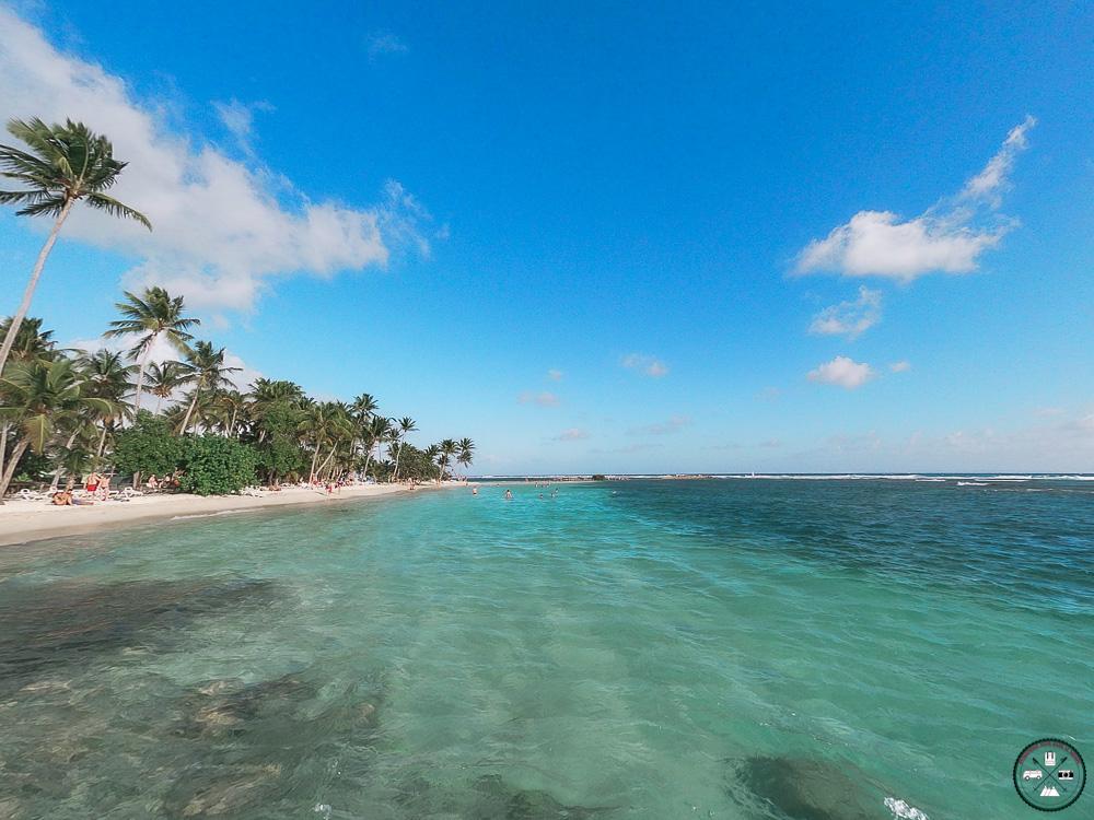 Eau turquoise et palmiers de la plage de la Caravelle