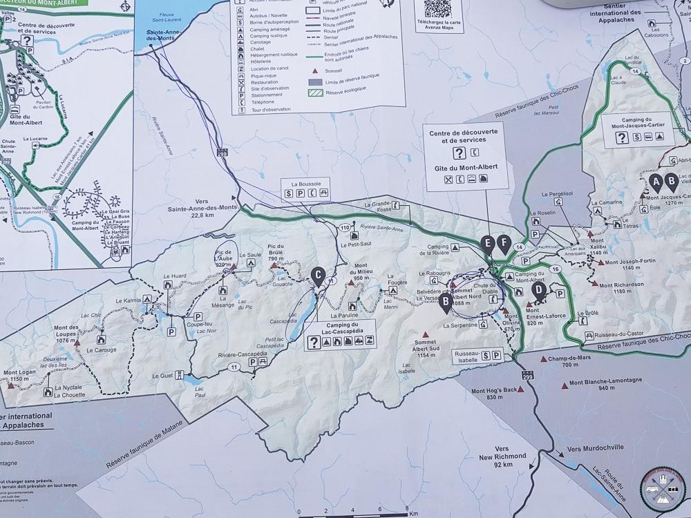 plan du parc national de la gaspésie